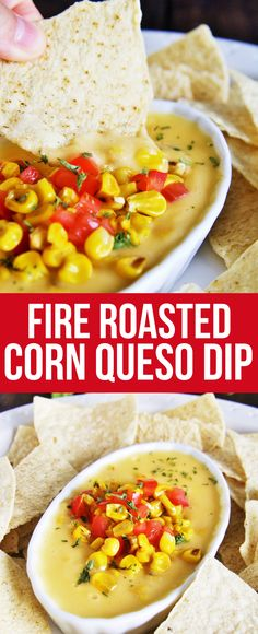 This creamy, velvety smooth queso dip is loaded with fire roasted corn and green chile - guaranteed to be devoured by all!