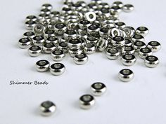 Brass Silver Plated Platinum-Rondelle Spacer Beads 4/1.9mm Hole 1.2mm (100) #Unbranded #Boheiman
