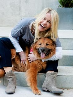 """Thank you for not taking shadoobies on the floor. And thank you for not being a cat. You were my dog the minute I laid eyes on you.""  – Chelsea Handler, to her chow chow and German shepherd mix Chunk, in the new book A Letter to My Dog"