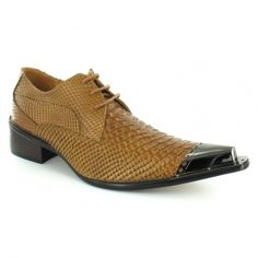 Gucinari Mens Premium Snake-skin Leather Lace-up Designer Shoes - Tan Brown Repinned by www.silver-and-grey.com