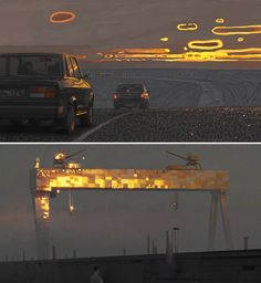 """Andrey Surnov evening traffic 1 subway shipyard crane cranes evening traffic 2 evening traffic 3 night shop 1 AM shooting gallery dark street pizzeria night shop 2 red café "" more art by Andrey Surnov Art Environnemental, 2d Art, Environment Concept, Environment Design, Matte Painting, Light Painting, Visual Development, Environmental Art, Dieselpunk"