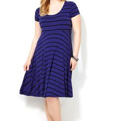 Blue Striped T-Shirt Dress-Plus Size Dress-Avenue