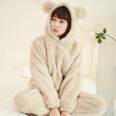 67e3ed32ea9c TIARAKA 2017 Winter Brand Flannel Pajamas Sets For Women Bear Sleepwear Set  For Couple Coral Fleece Nightwear Female