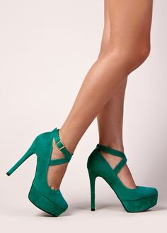 Emerald Criss Cross Pumps / Qupid