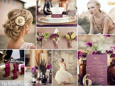 I'm not usually a gold person, but this is pretty {Autumn Elegance}: A Palette of Fig, Light Plum, Antique Gold, Ivory + White