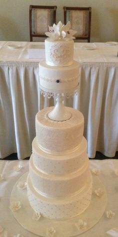 Shabby Chic 6 tier wedding cake by Villa Chateau