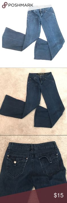 Trendy Pleated Flair Jeans Missing button on back pocket (see pick) Jeans Flare & Wide Leg