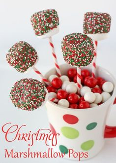 Marshmallow pops are very easy to make! These are Christmas themed, but you could do any color to match your party.