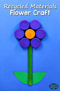 Creating this Flower Craft from Recycled Materials is a fun way to teach children how to recycle and reuse things like water bottle caps to create crafts for kids.
