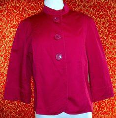 NWT COLDWATER CREEK Dark Fuchsia stretch cotton long sleeve jacket 16 (T36-02H7F #COLWATERCREEK #BasicJacket #Casual