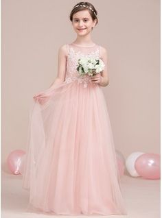 A-Line/Princess Scoop Neck Floor-Length Tulle Junior Bridesmaid Dress With Beading Sequins (009106846)