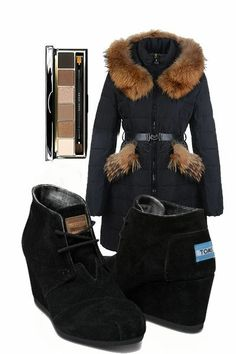 Toms Desert Wedges Suede Women's Shoes Black #TOMS