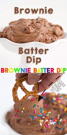 Brownie Batter Dip - This easy 5 ingredient brownie batter dip is the perfect party dip! It's rich and chocolaty AND super simple and easy to make! Because everyone loves sprinkles, add them to the top for the big finish! Desserts To Make, Homemade Desserts, Delicious Desserts, Yummy Food, Tasty, Party Dip Recipes, Fun Baking Recipes, Sweet Recipes, Easy Party Dips