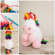 Crochet this adorable rainbow unicorn! Could this get any cuter? Free pattern!