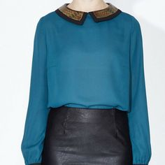 JoJo Blouse - Simple and stylish the JoJo Blouse combines chic teal chiffon with a retro faux snakeskin collar. A fabulous addition to Autumn workwear Workwear, Snake Skin, Bell Sleeve Top, Chiffon, Teal, Autumn, Retro, Chic, Stylish