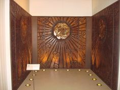 Selfridges lift compartment 1927-8  Edgar Brandt, Paris  Panels of wrought iron and beaten tin on painted plywood