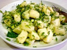 Lebanese Herbed Potato Salad (Salatat Al Bataata) potatoes fresh mint parsley onions olive oil
