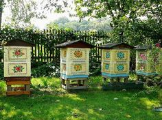 "gazophylacium: "" Decoratively painted beehives, Zalipie, Poland. """