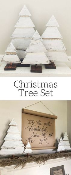 Wood Christmas Tree Set, Rustic Trees, Farmhouse Christmas Decor, Christmas Porch Decor, Chippy Christmas Trees, Distressed, Christmas mantle decor, Rustic Christmas #ad