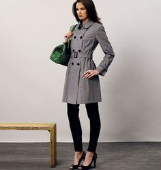 Buy the coat sewing pattern from Vogue® Patterns. This semi-fitted, lined coat has a collar, collar band, shoulder pads, yokes and two-piece sleeves. Girl Dress Patterns, Coat Patterns, Blouse Patterns, Skirt Patterns, Clothes Patterns, Vogue Patterns, Nylons, Dramatic Classic, Double Breasted Trench Coat