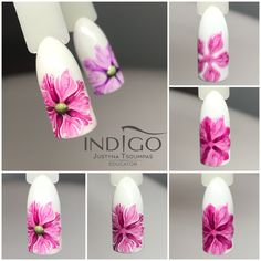 Nail Art Tutorial step by step flowers gel polish Indigo