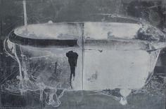 "Jimin Lee - The Bathtub - Death    Photo etching, Aquatint, Hard ground, Sugar lift, 36 x 24"", 1995"