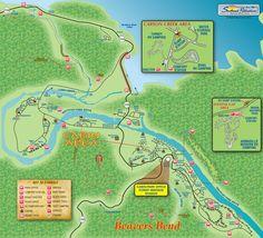 Beavers Bend State Park map, Oklahoma: