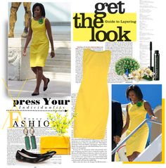 """""""michelle obama in yellow"""" by coco92 ❤ liked on Polyvore"""