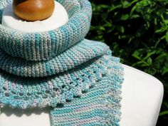 Hand Knitted Scarf Shawl in Mint Green by AGirlNamedMariaDK on Etsy #scarf #shawl #wrap #wedding #bride #triangle #summer #spring #lace #knitting #knitwear #knit #knits #cotton #light #mint #green #white #gray #grey #mottled