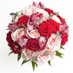 red and pink wedding flowers   Bridal Bouquet with Red and Pink Roses