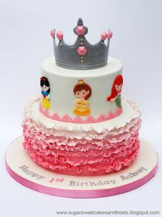 Disney Princess Cake by Angela Tran (Sugar Sweet Cakes Treats). Gumpaste Tiara/Crown, Pink Ombre Ruffles and 6 Princesses (Belle, Snow White, Tiana, Cinderella, Rupunzel, Ariel) - For all your Princess cake decorating supplies, please visit http://www.craftcompany.co.uk/occasions/party-themes/princess-party.html