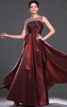 Bateau Taft sittsames Abendkleid/ Ballkleid mit Kristall mit natürlicher Taille