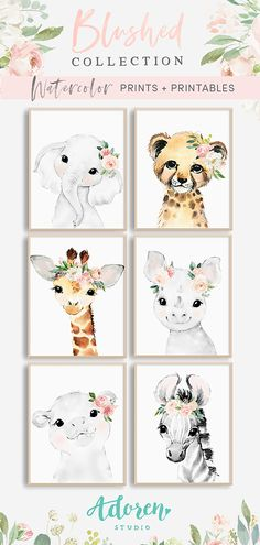 Blush Pink Floral Baby Animals – Nursery Art This gorgeous set of 6 sweet and ethereal watercolor safari animals are adorned with coordinating flower crowns from the Blushed Collection, featuring watercolor florals in every shade of blush with silver doll