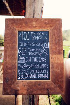 Chalkboard Wedding Itinerary