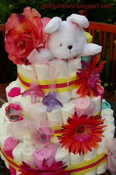 DIY: Diaper Cake Tutorial- great centerpiece for a baby shower and gift idea.