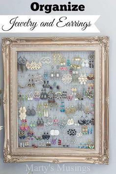 DIY Framed Jewelry Organizer | 20 DIY Shabby Chic Decor Ideas