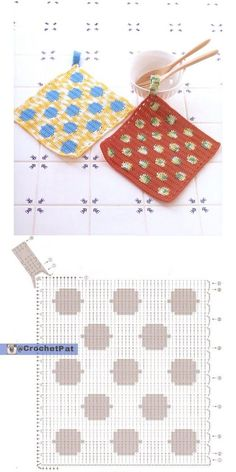 Crochet Potholder - Chart  ❥ 4U hilariafina  http://www.pinterest.com/hilariafina/