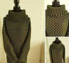 Ik ben verliefd ….. op de 3D Honingraat Raster Steek! | Haakwerkje Crochet Wool, Crochet Jacket, Diy Crochet, Crochet Stitches, Crochet Clothes, Knitting Patterns, High Neck Dress, Clothes For Women, Womens Fashion