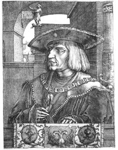 German woodcut. I believe this is Emperor Maximilian I (1459-1519).  It is.