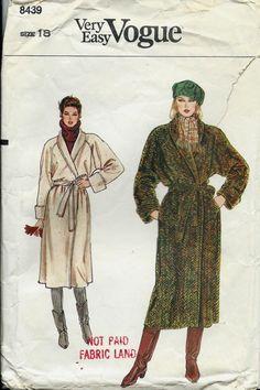 VTG Vogue 8439 Very Easy Misses Wrap Coat by DawnsDesignBoutique