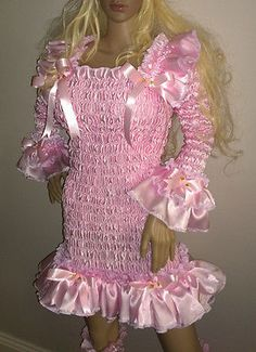 Prissy-Sissy-Maid-Adult-Baby-CD-TV-Shiny-Faux-Satin-Baby-Pink-Wiggle-Dress