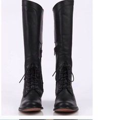 FRYE MELISSA BLACK LEATHER LACE UP RIDING BOOTS 77121 sz 6, *FREE S&H! - $185