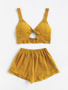 Summer Women Set Two Piece Set fashion Top And Pants crop top moletom feminino Summer Outfits, Casual Outfits, Cute Outfits, Girl Fashion, Fashion Outfits, Womens Fashion, Fashion Top, Yellow Clothes, Senior Picture Outfits