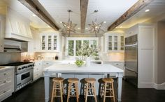 I would love a beadboard ceiling with wood beams!
