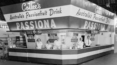 The Cottees show bag stand at the Royal Easter Show at Moore Park in the eastern suburbs of Sydney in 1956.