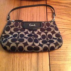 COACH wristlet! Cute, black COACH wristlet! Used, but great condition! Coach Bags Clutches & Wristlets