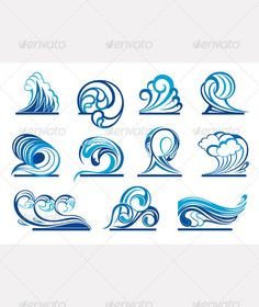 Wave Symbols - Decorative Symbols Decorative, click now. Waves Symbol, Wave Drawing, Water Logo, Symbolic Tattoos, Tattoo Inspiration, Tatoos, Body Art, Art Drawings, Tattoo Designs