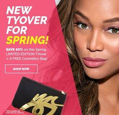 Save 40% on our new SPRING Tyover and receive a free makeup bag!  #makeup #mua #makeupartist #makeupartists #free #freewithpurchase #discount #spring #tyrabanks #makeup #abh #hudabeauty #amrezy