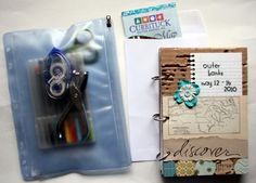 """The Creative Place: DIY Tuesday: Travel Journal """"I pack all of my materials in a zipper pouch so they are all there together. Everything needed for your travel journal is below :)"""" Travel Maps, Travel Journals, Travel Books, Art Journals, Creative Journal, Journal Ideas, Nc Map, Mini Vacation, Travel Checklist"""