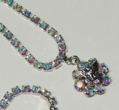 Fraternal Order of Eagles, AB Rhinestone Necklace, Hollywood Regency, Blue, Purple,Pink, Vintage Necklace, Vintage Jewelry